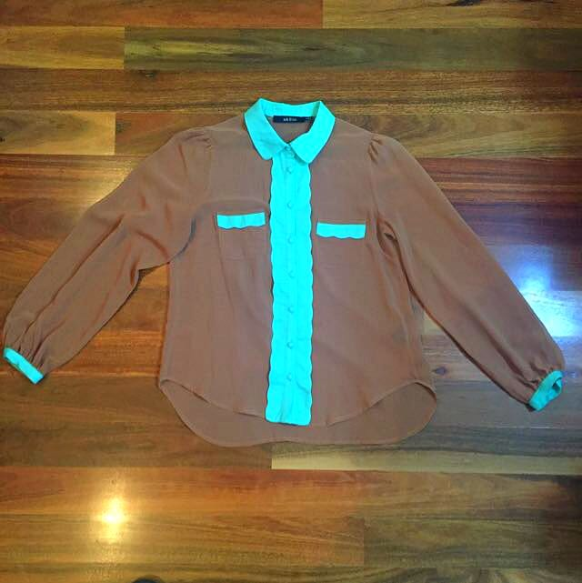 Ark & Co Sheer Tan And Turquoise Shirt