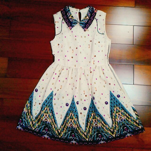 Asos風 油畫風甜美印花洋裝