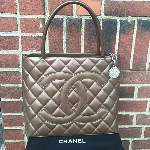 Authentic Chanel Brown Lambskin Classic Medallion Shoulder Bag