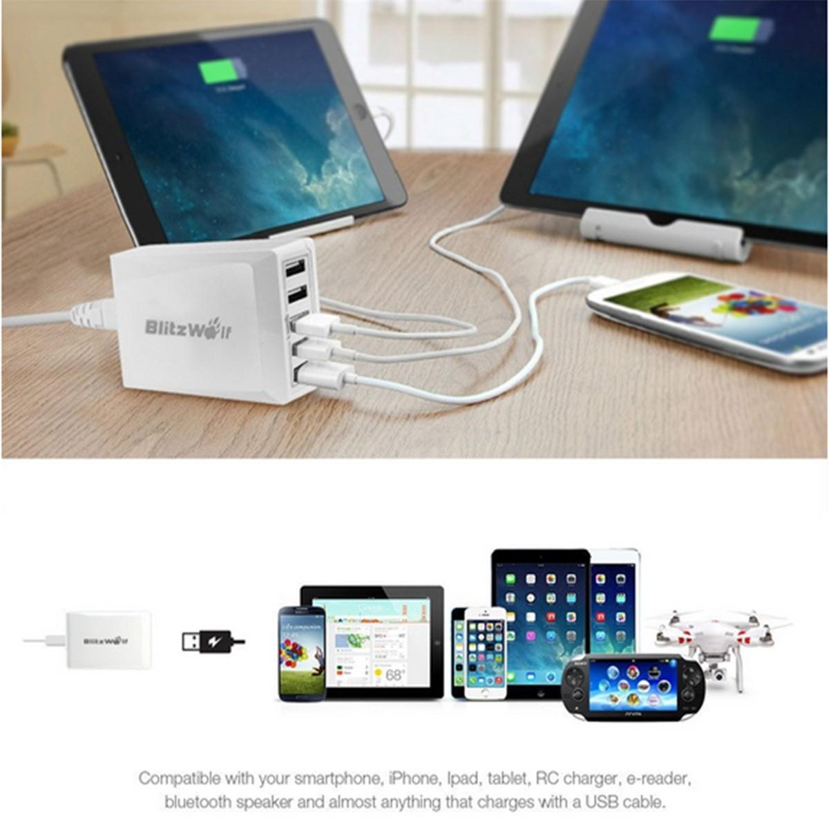 BlitzWolf® BW-S1 40W Smart 5-Port High Speed Desktop USB Charger