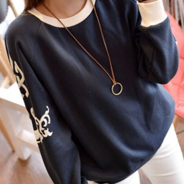 Blue Embroidered Sweater