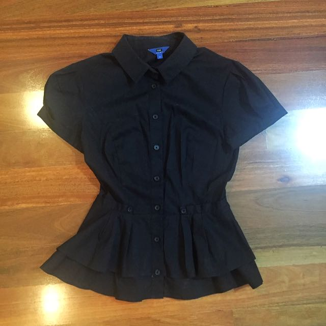 Cue - Black Peplum Shirt