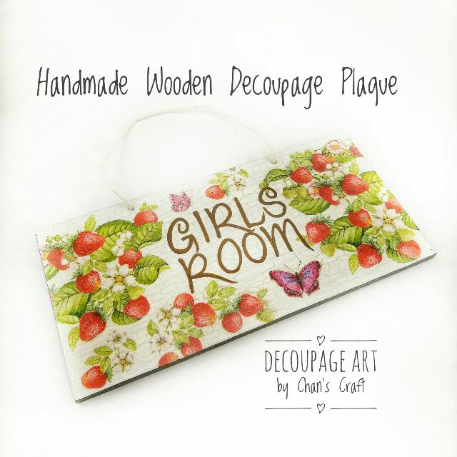 Handmade Decoupage Wooden Plaque