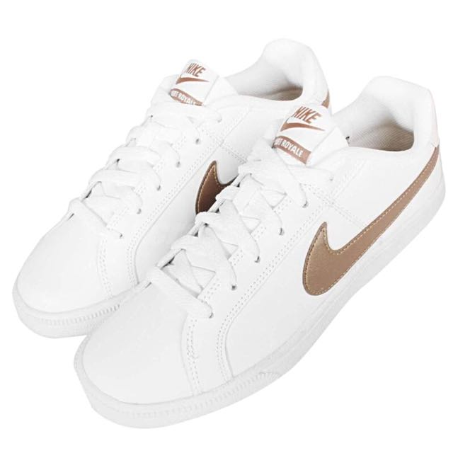 Royale-White-Gold-Womens-Court Sneakers