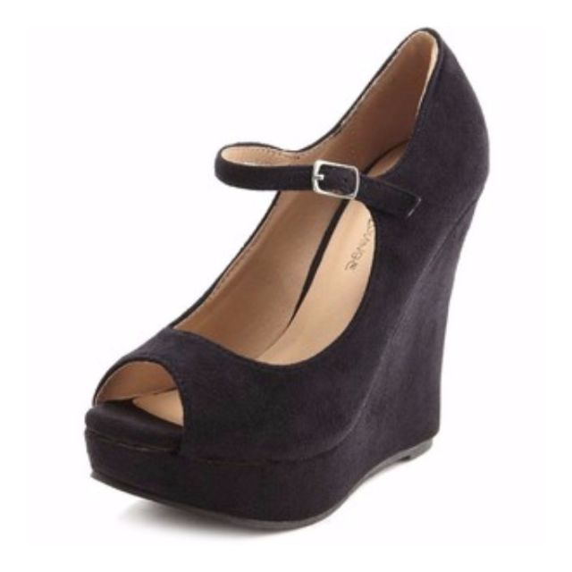 NEW LOOK MARY JANE STRAP WEDGES - SIZE 8, WORN ONCE