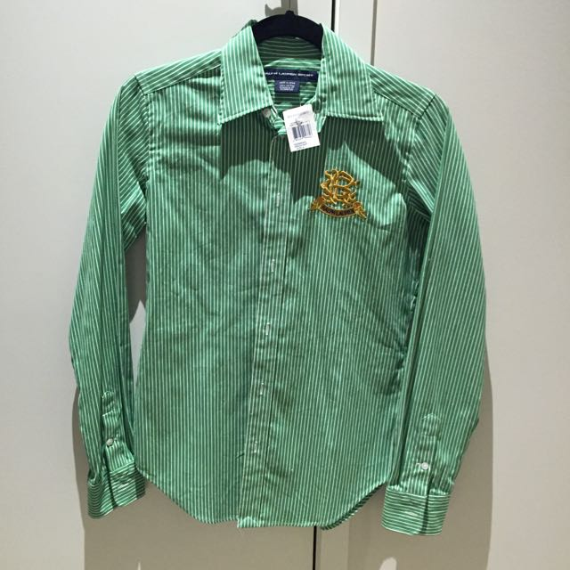 POLO RALPH LAUREN SHIRT GREEN WHITE STRIPED CLASSIC