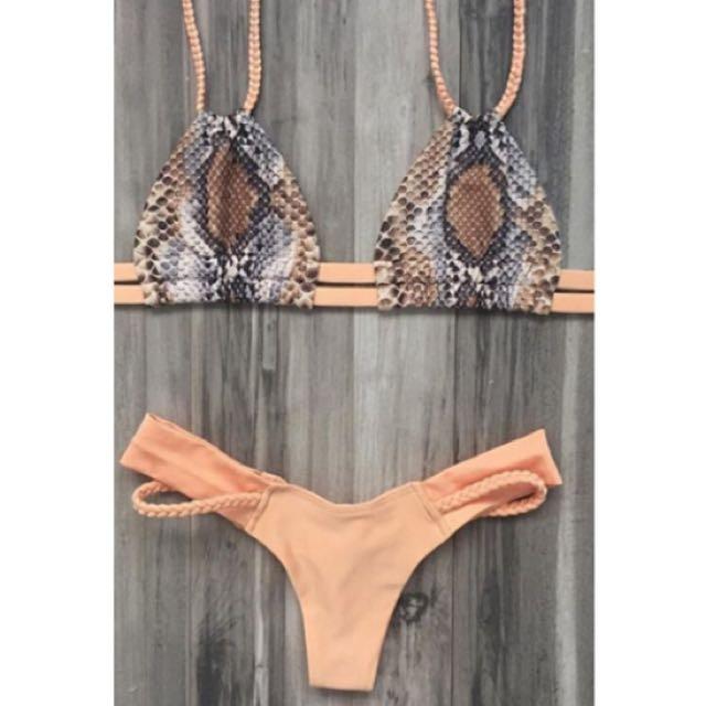 Printed Braided Spaghetti Strap Bikini Set