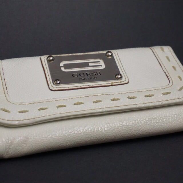 White Guess Flip Wallet For Women