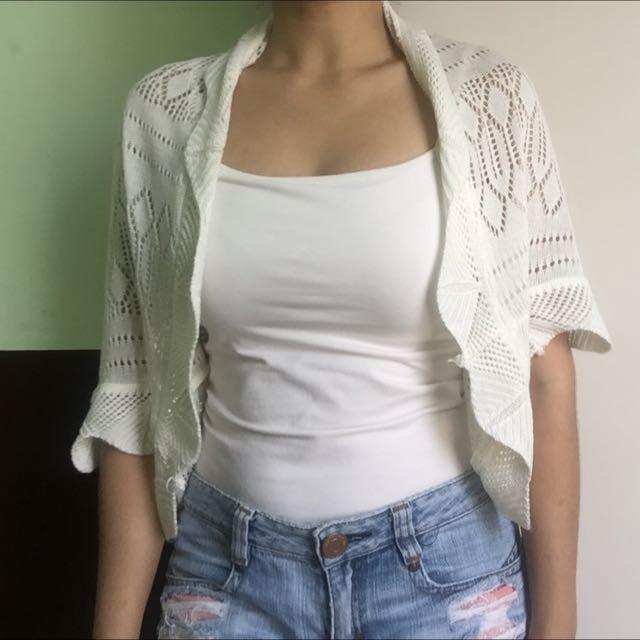 White Open Knit Blazer