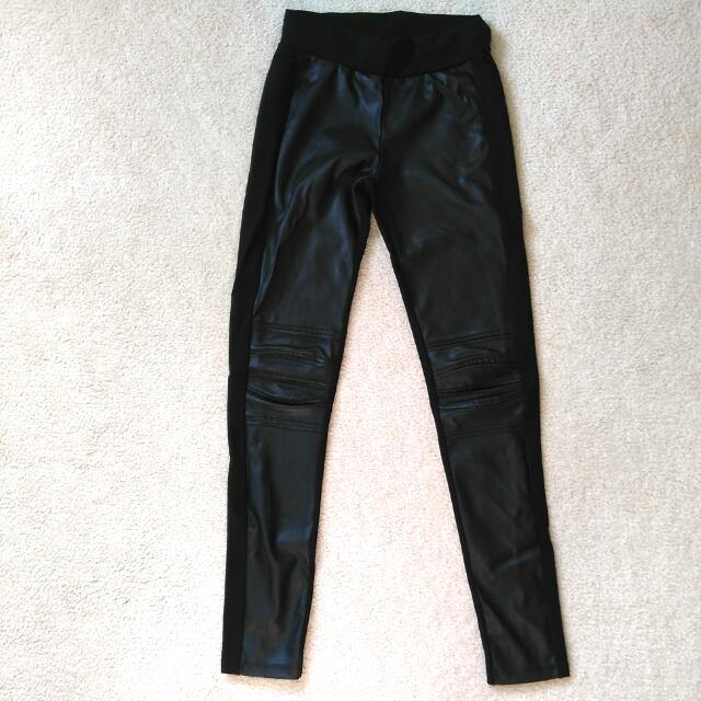 XS Dynamite Black Pleather Leggings
