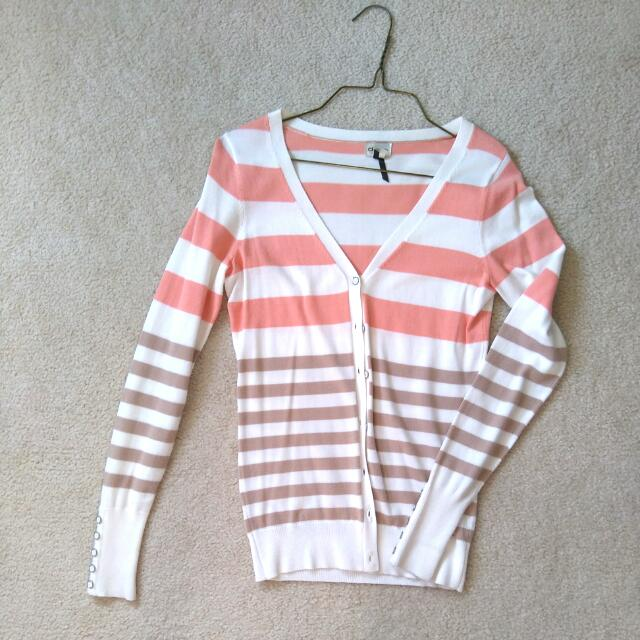 XS Dynamite Coral And Tan Striped Long Cardigan