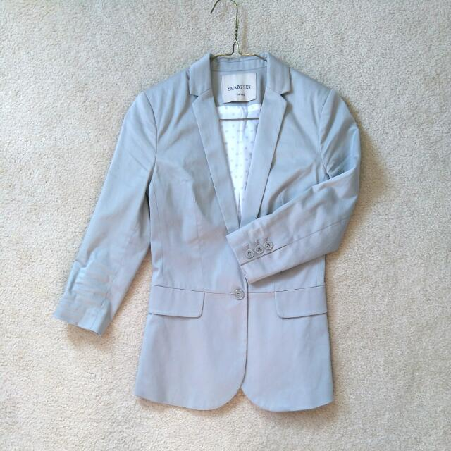 XS Grey Casual Blazer