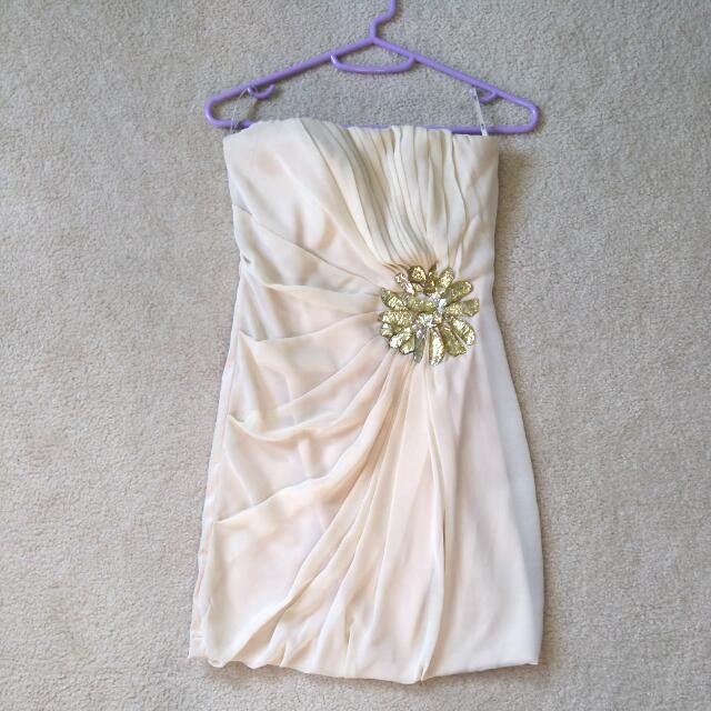 XS/S Cream Chiffon Strapless Dress