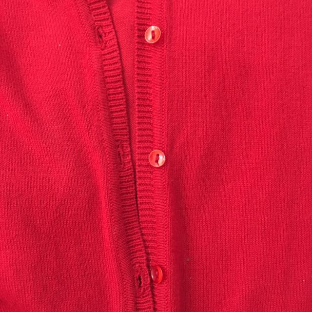 Zara Red Knit Button-Down Cardigan (Corporate Attire, Wear Over Sundress)