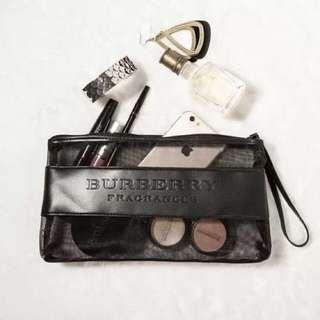 (已售出)💋Burberry 專櫃贈品化妝包💋 黑色網紗半透明手拿包/化妝包/收納包/筆袋【BB0️⃣0️⃣1️⃣】