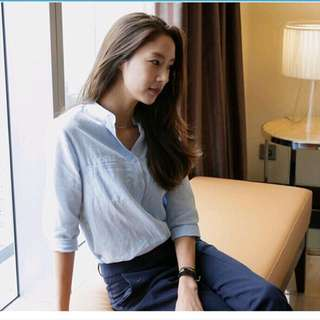 INSTOCK Blue Button Blouse (formal)