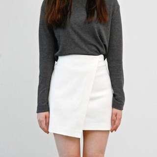 INSTOCK White Overlap Skirt