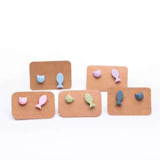 Cat And Fish Clay Ear Stud / Earring Set