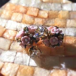 新娘捧花耳環  氣質甜美的粉紅色