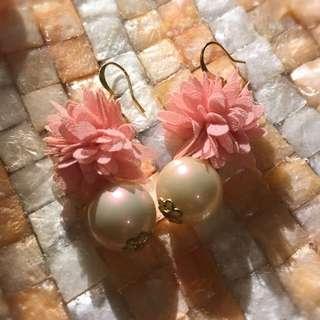 粉紅小花珍珠耳環  女孩感  氣質甜美