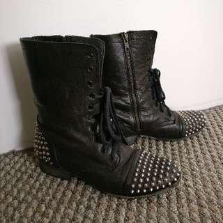 Steve Madden Studded Black Leather Boots