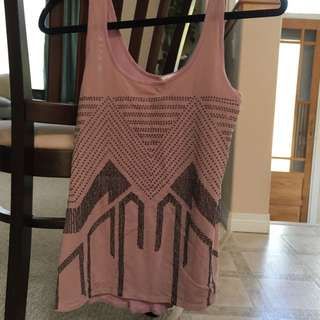 Dusty Rose Dynamite Tank top With Geometric Sequin Pattern