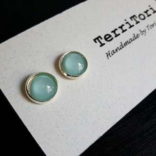 Mint Green Color Stud Earrings.
