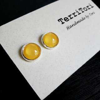 Pastel Yellow Color Stud Earrings