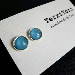 Pastel Blue Color Stud Earrings