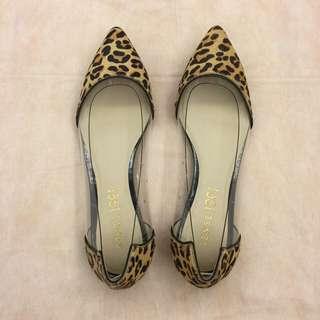 全新 1991專櫃 豹紋拼接透明平底鞋 (Size 24.5/39)