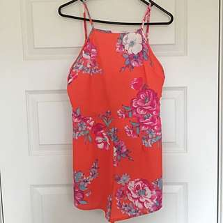 *Payment Pending Paint It Red: Princess Polly Red Floral Playsuit