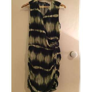 Witchery Ruched Casual Dress Blue⁄Yellow Size 6