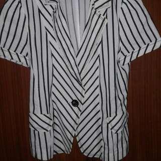 Blazer Pendek Motif Zebra