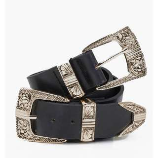 Boohoo Grace Double Buckle Western Belt RRP $20