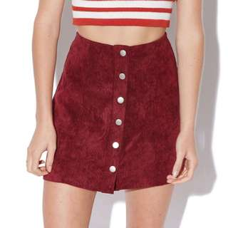 Maroon Cord Skirt With Buttons