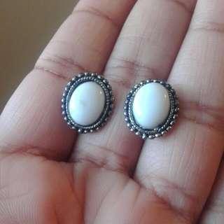 White Stone Earrings