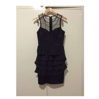 Boutique Black Mesh And Ruffle Dress