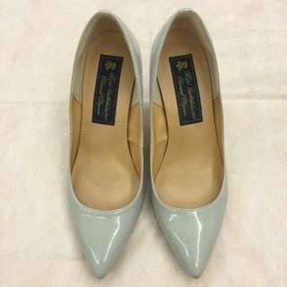 9成新 日本 ROPE專櫃 真皮冷灰色高跟鞋 (Size 38)