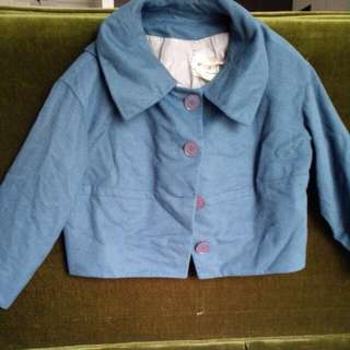 Vintage Teal Cropped Overcoat