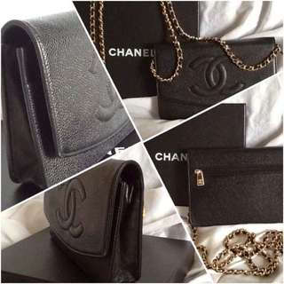 Authentic - Chanel WOC black caviar gold hardware