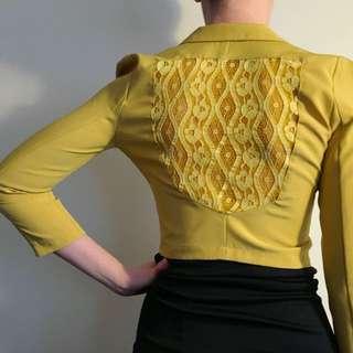 Mustard yellow bolero blazer with lace back detail, size 6-8