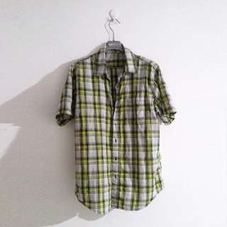 giordano佐丹奴綠色格紋襯衫