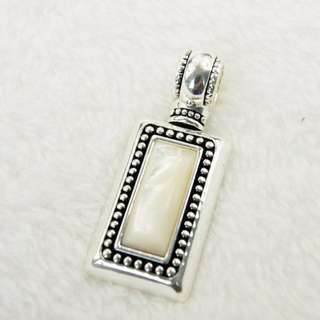 Royal White Pearl Silver Tone Rectangle Shape Pendant Women's Fashion