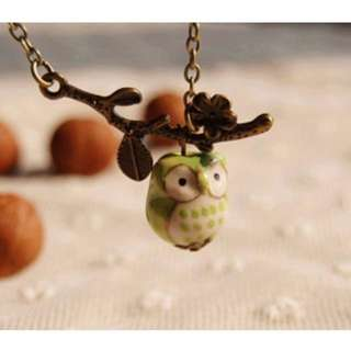 Cute Ceramic Green Owl Pendant Necklace Ideal for Girls