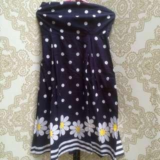 Navy Blue Polka Dot Tube Dress