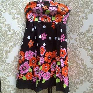 Black Floral Tube Dress