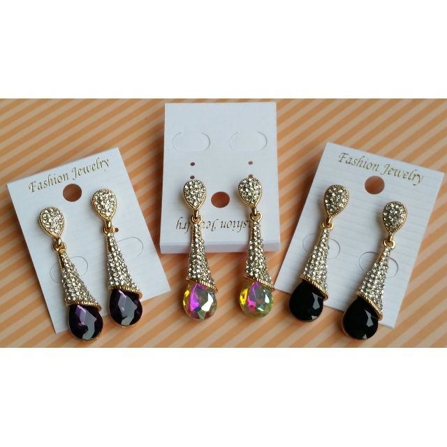 18K gold plated fine Jewellery - Drop Earrings, THREE COLORS AVAILABLE , PURPLE, BLACK AND MULTI