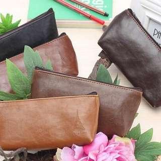 💋 PO Minimalistic Zip-Around Leather Pencil Case/Pouch
