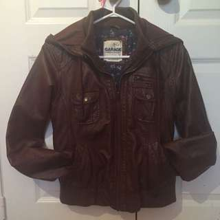Brown Leather Jacket - Size Medium