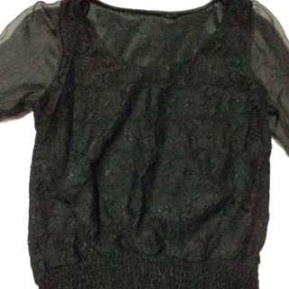 black lace 3/4 seetru gartered blouse